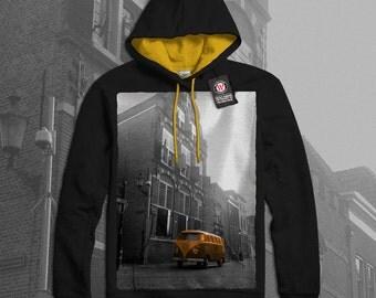 Volkswagen Car Hippie Automobile Men Black (Gold Hood) Contrast Hoodie S-2XL NEW | Wellcoda *q471