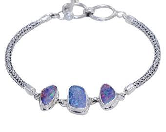 Luxurious Australian Fire Doublet Triple Opal 3-Stone Sterling Silver Bracelet Jewellery Online