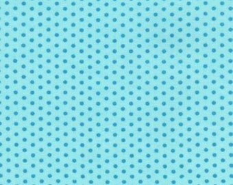 Aqua with Turquoise Dot Fabric by Riley Blake