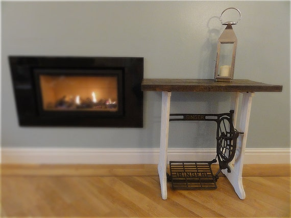 Singer side table made from a vintage cast iron sewing machine - Cast iron sewing machine table ...