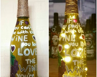 Upcycled, hand painted decorated wine bottle light