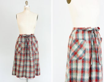 Vintage 70s Skirt / 1970's Vintage Skirt / Plaid Vintage Skirt / 1970s High Waisted Skirt /  A-line Skirt / Vintage Wool Skirt / Medium M