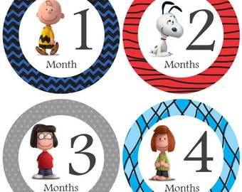 Monthly Baby Stickers, Milestone Stickers, Month Stickers, Baby Month Stickers, Baby Stickers, Snoopy Peanuts #57