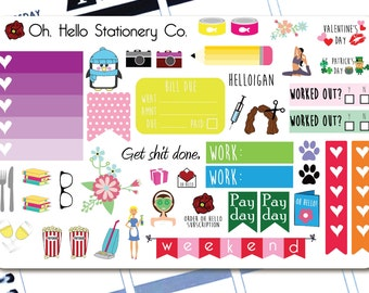 43 Sticker Large Sampler Set #3  - Planner Stickers for Erin Condren Life Planners - Q8