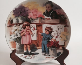 The Flower Arrangement Collectors Plate / The Flower Arrangement Plate / Collectors Plate Children / Fresh Flowers Plate / Jeanne Down /