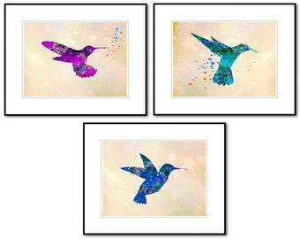0088,Discounted Set of Three(3) 8x10 Prints,HUMMINGBIRDS,Watercolor,Nursery,Kids Room Decor,Chilrens Playroom Decor,Wall Art,Art Photography