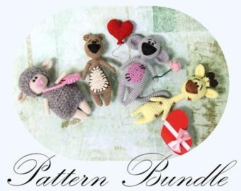 PATTERN BUNDLE: Amigurumi Sheep, Amigurumi Lamb, Kawaii Giraffe, Crochet Bear, Crochet Pattern (English Only)