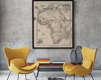 Old Africa Map 1880, Africa Map, Antique African Map, Map Poster, Office Decor, Old Map- CP110