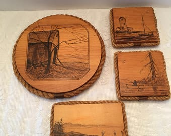 Bar Harbor Maine ~ Wooden Plaque ~ Set of 4 ~ Rope Edge ~ Vintage
