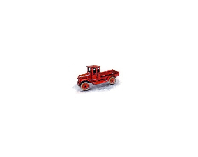 Original Miniature painting of a Old Red Truck. Tiny painting, Old Red Truck  tiny art 5 x 5