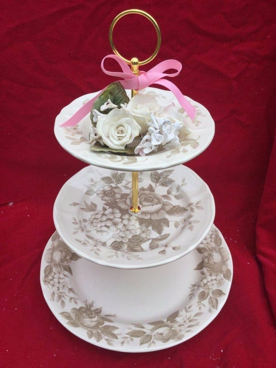 Wedding Cake Stand 3 Tier Serving Tray Nikko Plate Cup Antique Rose