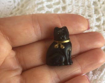 Antique Czech Glass Cat Charm