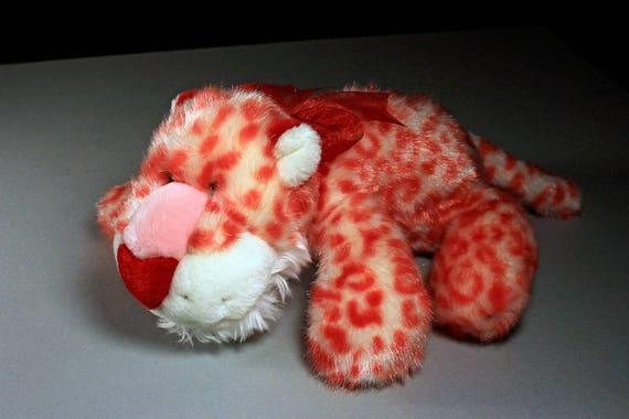 Leopard Stuffed Animal, Chosun International, Plush Leopard, Pink, White, and Red,  Valentine's Day Gift