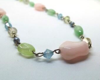 Vintage Pastel Colour Bead Necklace