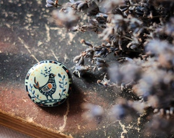 "Ceramic Brooch ""Bird"" / round brooch / brooch handmade / hand-painted brooch / ceramic brooch"