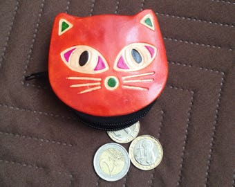 Vintage Cat Leather coin purse - Genuine leather case - Leather cat coin pouch - Orange Brown cat purseq sweet cat case witt zipper