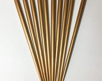 Lacquered wood Hair Blanks Hair Sticks w/ flat top 6 1/2 inch long Gold 10 pcs. per pkg.