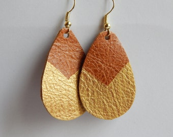 Leather Drop Painted Festival Earrings Ready to ship