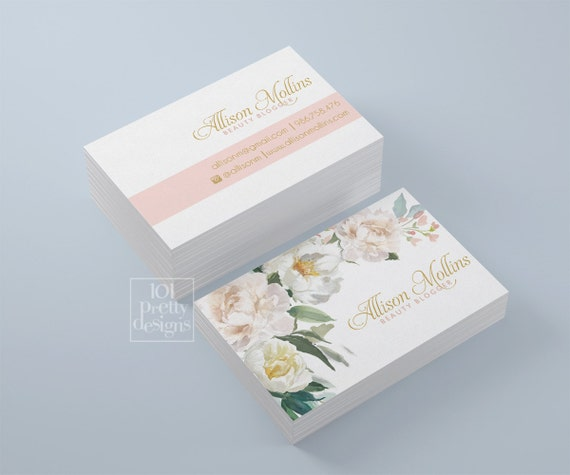 Floral business card design flowers business card template il570xn accmission Choice Image
