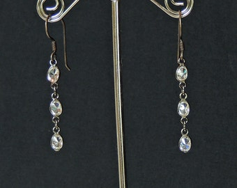 1 strand 5 mm oval cubic zirconia oxidized sterling silver chain earrings