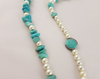 Long Turquoise with pearls Necklace with Swarovski