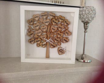 Personalised Family Tree Frame, Handmade, personalised, gift, family tree,  handmade family tree, personalised, box framed, family tree