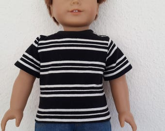 "Black and white lined Top / T-shirt for 18"" Boy Doll -  doll classic  tee -  boy doll clothes-  Black striped tshirt"