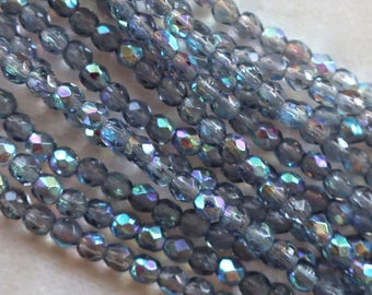 Lot of 50 3mm Montana Blue AB Czech glass beads, firepolished, faceted. round beads, C7401