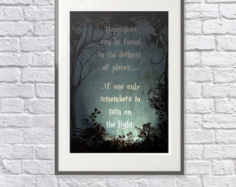 Harry Potter Quote 'Dumbledore'  Childrens Inspirational Nursery Print, Playroom, Bedroom Art: 'Turn on the light' - Motivation - Positive