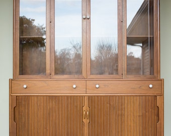 Drexel Declaration Hutch China Cabinet/ Stewart McDougall Kipp Stewart Mid Century Danish Modern