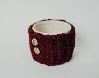 Tea / Coffee Mug Cozy - Crochet Burgundy with wood buttons