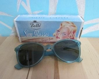 "Vintage Bollé Sun Glasses: blue ""optically correct"" sunglasses by Georges Bollé, with original box"