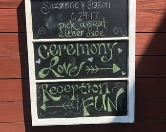 ON SALE Wedding Chalkboard   Kitchen Chalkboard   Chalkboard On Wood Window    Wood Window Chalkboard