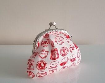Purse / big coin purse / change purse / coin purse / Kiss lock purse / clasp purse/make up bag/clutch/gift/stamps/postage
