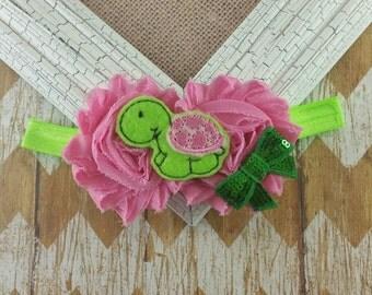 Turtle headband, turtle baby headband, girls headband, baby turtle headband, pink and green headband, turtle outfit, felt turtle headband