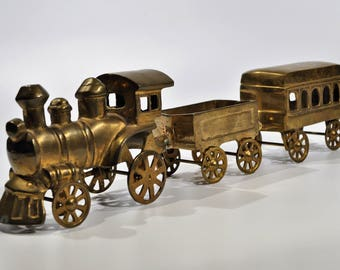 Large and  Heavy Solid Brass Steam Train