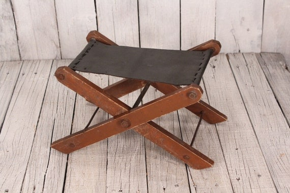 Camp Chair Stool Cool Brown Paint Patina On Wood Base