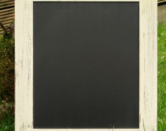 White Distressed 'Shabby Chic' Glittery Framed Chalkboard / Blackboard / Wedding Board / Kitchen / Memo