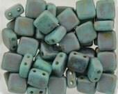 50pcs CzechMates 2 hole Tile beads Turquoise COPPER PICASSO 6mm [B30]