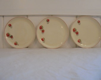 Rare Vintage Cavitt Shaw Division W.S. George Shortcake Pattern Strawberry Design 6.25 Inch Dessert Plate 1940's Era Strawberry Dishes