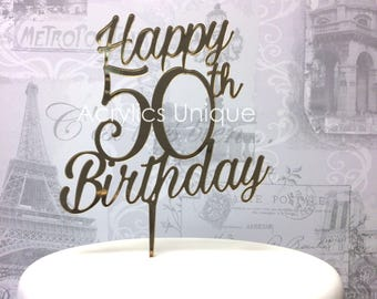 Birthday cake topper 50th, acrylic celebration cake topper. Various colours available.