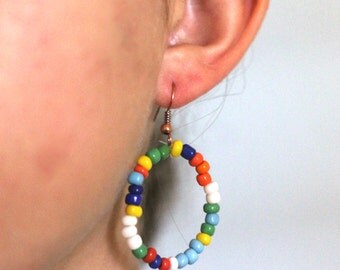 Handmade Glass Bead Rainbow Circle Earrings