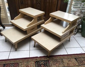 Mid century modern pair of blonde side coffee end tables retro multi tier living room office furniture
