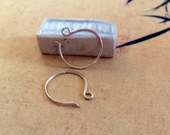 21g Handmade Gold Hoop Ear Wires 14k Yellow Gold Filled French Style Earwires Artisan Earring Findings 14k Rose Gold Filled