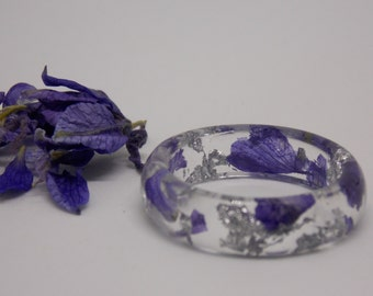 Delphinium and Silver Flakes Ring, Botanical Ring, Resin Flower Ring, Gift for Her, Nature Ring, Resin Ring, Jewelry, Real Flower Jewelry
