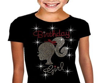 So Cute Bling Bling It's my Birthday Girls Barbie Birthday T-shirt,Rhinestone T-Shirt 10, 12