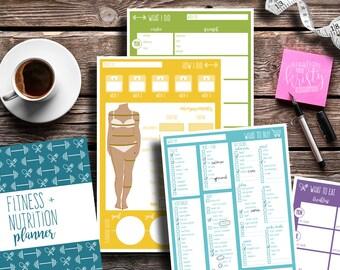 Fitness + Nutrition Planner, Printable, Editable, Instant Digital Download