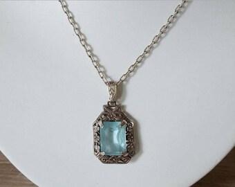 SALE Captivating Art Deco Silver Aquamarine Glass Necklace 10.33 Grams.