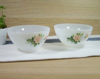 Set 2 bowls ARCOPAL France pink roses pattern |   diameter 5.1"