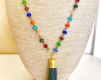 Multi-Colored Beaded Necklace with Dark Green Tassel